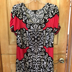 Bright & Bold Black Pink White Modern Dress 2X